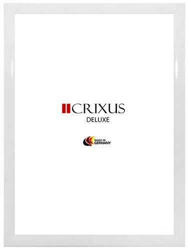 CRIXUS `Deluxe´ Bilderrahmen für 98 x 33 cm Bilder, Farbe: Weiß Hochglanz, MDF-Holz Rahmen, mit Acrylglas Kunstglas 1mm (Bruchsicher), Rahmenbreite 38 mm