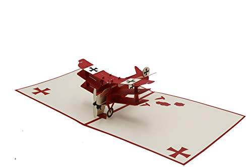Flugzeug, Dreidecker, Fokker Dr.I Modell, der rote Baron, Jagdflugzeug, Pilot, 3d Klappkarte, Pop Up Karte, Glückwunschkarte, Grußkarte, Geschenkkarte