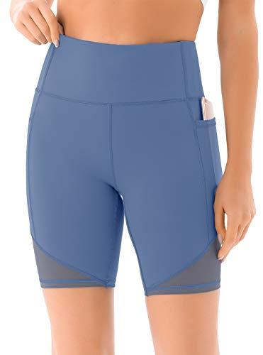 JOYSPELS Kurze Sporthose Damen, Radlerhose Damen Kurz Laufhose Leggings Sport Biker Running Yoga Fitness Shorts Blau S