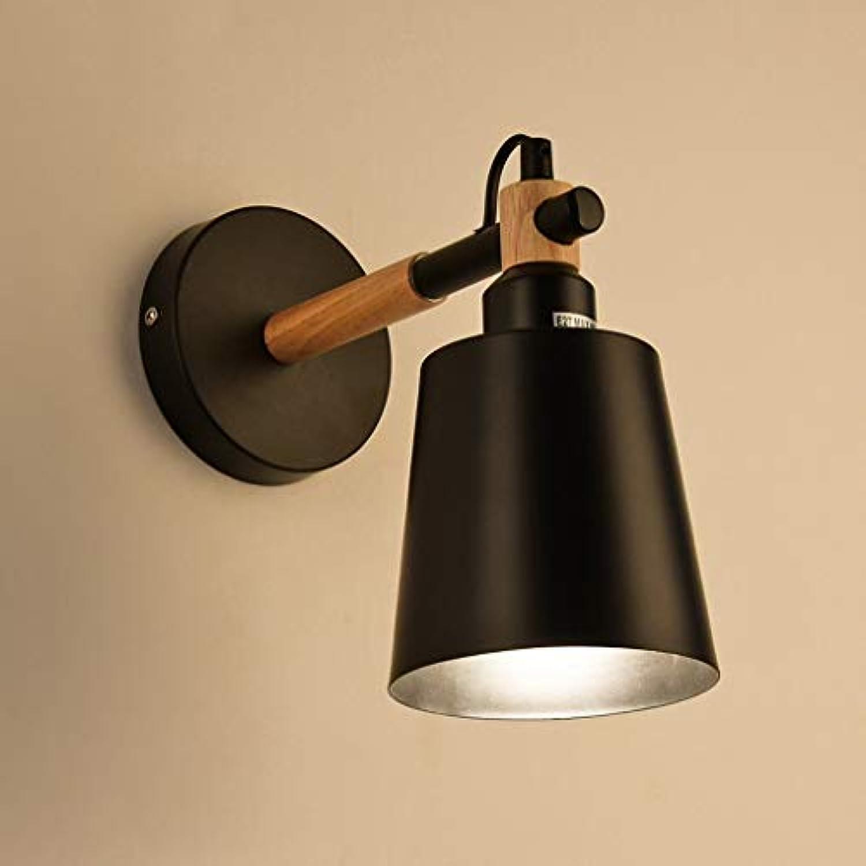 Sache Wandleuchten Nordic Holzbearbeitung Lampen Einfache Moderne Kreative Schlafzimmer Japanische Nachttischlampe Balkon Gang Echtholz Wandleuchte (Farbe  Schwarz)