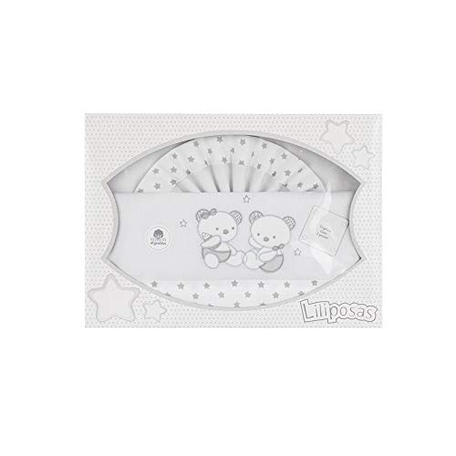 Triptico Sabanas 100% Algodón Minicuna 50X80 - (bajera+encimera+funda almohada) (Parejita osos gris)