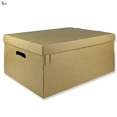 BricoLoco Lote 6 cajas cartón con tapa y asas. Almacenaje, zapatos, juguetes, mudanza, envíos. Multiusos. Automontable. Resistente. Medidas 53x44x26 cms.