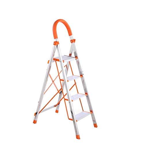 MJY Escalera Multipropósito de Acero Inoxidable para Exteriores, Tienda de Conveniencia Elevador de Carga Guardarropas Acabado/Altura Plegable: 115 Cm, 138 cm,42 * 68 * 131 cm