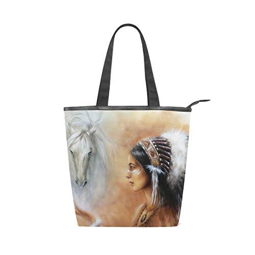 XiangHeFu Damen Handtaschen, Indianer, Canvas, Schultertasche
