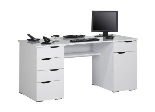 MAJA-Möbel 9539 5639 Schreib- und Computertisch, weiß Hochglanz - Icy-weiß, Abmessungen BxHxT: 158 x 74,5 x 67 cm