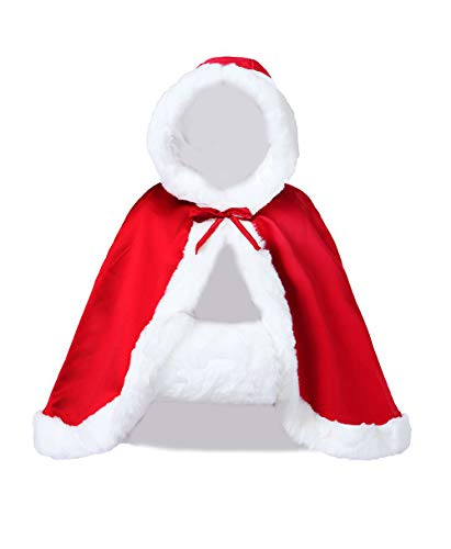 Wedding Cape Hooded Cloak for Bride Winter Reversible with Fur Trim Free Hand Muff Hip-Length Apple Red