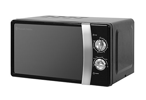 Russell Hobbs RHMM701B 17 Litre 700 W Black Solo Manual Microwave with 5 Power Levels, Ringer & Timer, Defrost Setting, Easy Clean