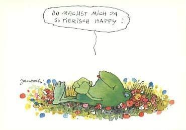 Postkarte Janosch Tierisch happy