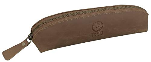 Leather Pen Case - Zippered Pencil Pouch For Work & Office By Rustic Town (Small, Brown)