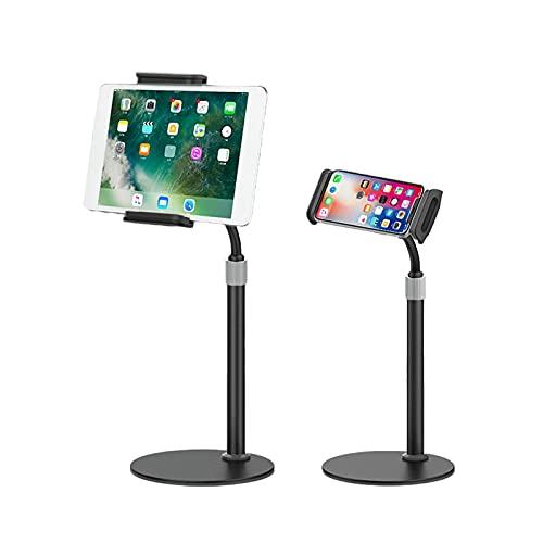 QIXIAOCYB Soporte para teléfono móvil, ángulo de altura ajustable, soporte para teléfono celular Samsung Galaxy S20/Plus, iPhone 12 Mini Pro Max, color negro