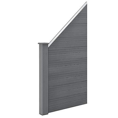 neu.holz WPC Gartenzaun Schrägelement Sichtschutz Windschutz Lamellenzaun Zaun Grau