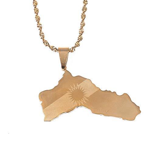 VAWAA Edelstahl Gold Farbe Kurdistan Karte Anhänger Halsketten Kurdische Flagge Karte Schmuck