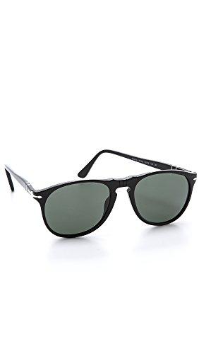 Persol Unisex PO9649S Sonnenbrille, Schwarz (Gestell: schwarz, Gläser: grün-klar polarisiert 95/58), Medium (52)