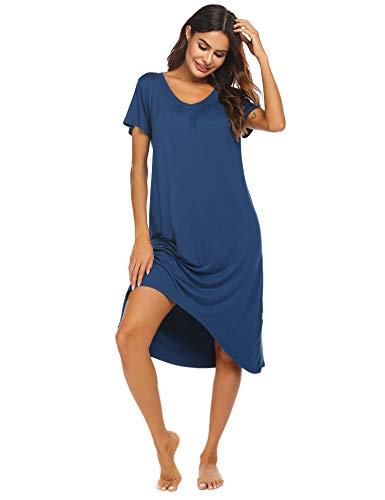 Ekouaer Women's Nightgown Sleepwear Short Sleeves Shirt Casual Sleepdress Navy Blue