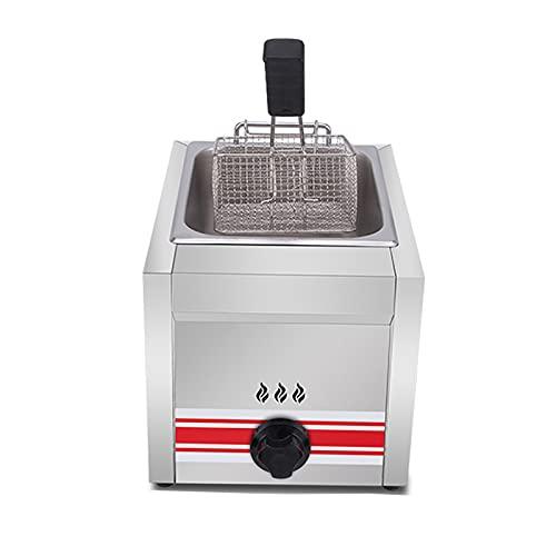 HOME UK Edelstahl Friteuse Gewerbliche Gas Fritteuse Elektrische Friteuse Deep Fryer mit Frittierkorb und Deckel Unabhängige Temperaturregelung gleichmäßige Erwärmung