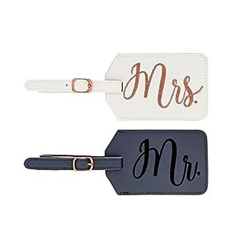 Miamica Women s mrs Bridal Luggage Tags Gray & White M31151-Gray/White