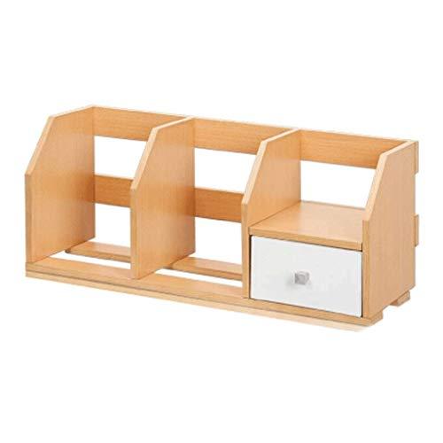 Schreibtisch Organisator/Ordner-Ablagesysteme Desktop-Bücherregal mit Schublade und 3 Upright Sections Schreibtisch-Organisator Anzeigen-Regal-Rack Bürobedarf Ablageboxen