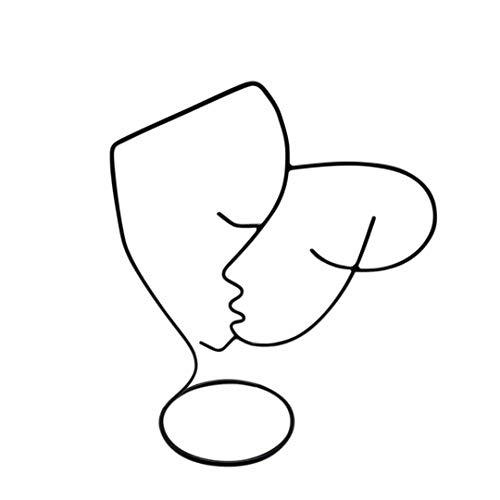 LaLe Living Figura decorativa FAVORI Caras en negro, 18.5 x 25 cm, de hierro, figura decorativa abstracta, línea de metal, arte minimalista