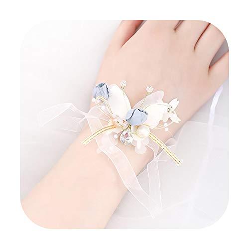 Art Flower Pulsera de novia hecha a mano con flores y mariposas, para dama de honor, hecha a mano, accesorio para el pelo, para novia, mujer, color azul