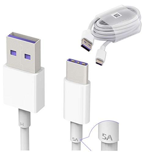 Original Huawei HL1289 5A USB 3.1 Typ C Superfast Ladekabel Datenkabel für P9/ Plus/ P10/ Plus/Mate 9/ Nova/ 2, Weiß (Großpackung, Frustfreie Verpackung)