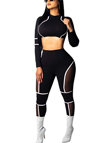 BORIFLORS Women's Sexy 2 Piece Outfits Club Jumpsuit Long Sleeve Crop Top and Pants Set,Medium,White