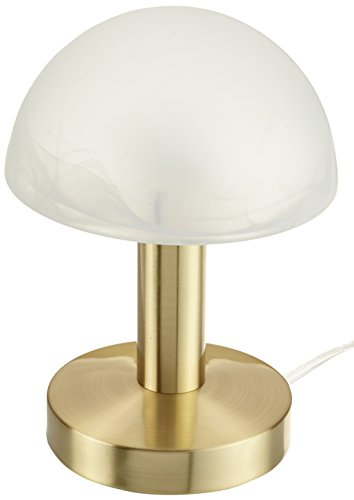 Trio-Leuchten 599000108 Tischleuchte in Messing matt, Touch-Me-Funktion(4-fach schaltbar, 3 Helligkeitsstufen), Glas alabasterfarbig weiß, exklusive 1xE14 max. 40W, Höhe 21 cm