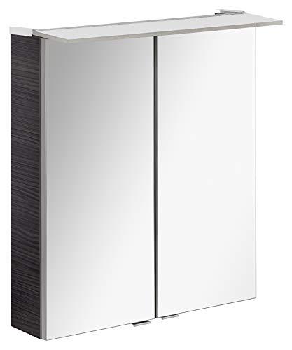 FACKELMANN LED Spiegelschrank B.PERFEKT/Badschrank mit Soft-Close-System/Maße (B x H x T): ca. 60 x 69 x 15 cm/hochwertiger Schrank mit Spiegel und Beleuchtung fürs Bad/Korpus: Schwarz