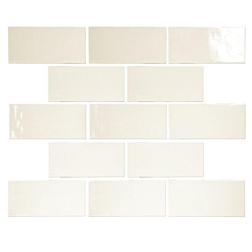 Ocean Mosaics Tiles Pastel Off White Glossy 3x6 Porcelain Subway Tile...
