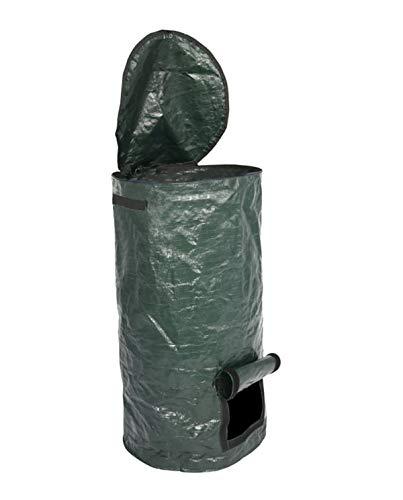 Kaltes Wasser Gartenabfallsack Selbstaufstellend Stabil 50L 120L Faltbar mit Deckel Gartensack aus robustem wasserdichtem Gewebe (Grün 57L)