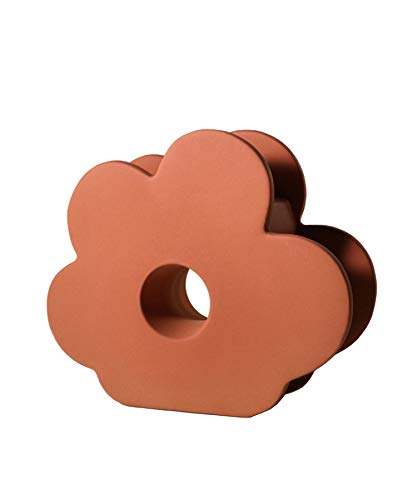 花瓶 フラワーベース おしゃれ 陶器 室内 お花 花型 ポップ インテリア 韓国ライク 一輪挿し 結婚祝い 引っ越し祝い (オレンジ)