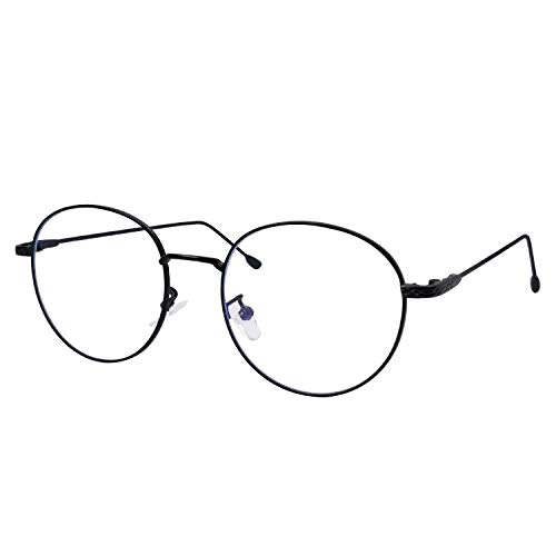 IFHTech Blue Light Blocking Glasses,Anti Eyestrain Reduce Headache Retro Round Metal Frame Computer Glasses.Men/Women (Black Frame)