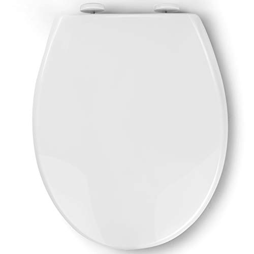 Pipishell Toilettendeckel, WC Sitz mit Absenkautomatik, Quick-Release Funktion für leichte Reinigung, O Form Weiß Toilettensitz mit Verstellbaren Scharnieren Kunststoffversion