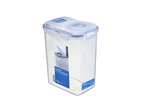 LocknLock PP Classic Aufbewahrungsbox, 151 x 108 x 190 mm, 1,8 L, 100 % Luftdicht, Cleveres Verschluss-System, Vorratsbehälter, Schüttdose, Mehl Aufbewahrung, Cornflakes Spender