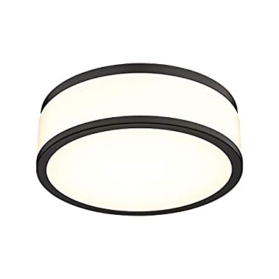 LED Flush Mount Ceiling Light, 15 inch, 18W Dimmable 1260lm, 3500K Warm White Light, Matte Black Modern Round Ceiling Light Fixture for Kitchen, Hallway, Bathroom, Stairwell, LMS-054