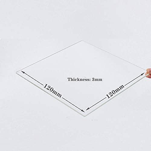Placa de vidrio de borosilicato de 120 mm x 120 mm x 3 mm para impresoras 3D, cristal perfectamente plano con bordes pulidos.