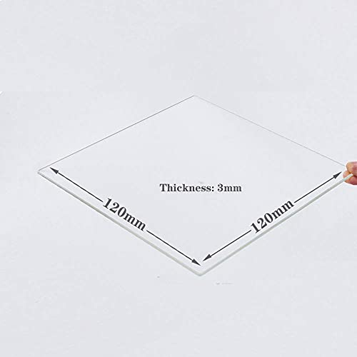 120mm x 120mm x 3mm Borosilicate Glass Build Plate For 3D Printers, Perfectly Flat Glass With Polished Edges