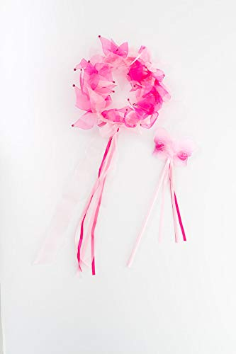 Little Adventures Fairy Halo & Wand Child Accessory Set - Hot Pink & Light Pink