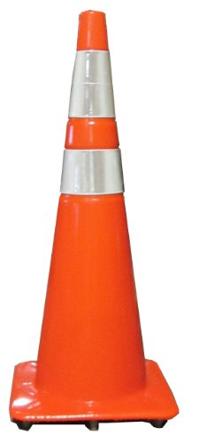 """Work Area Protection 36PVCS-R Polyvinyl Chloride Standard Recessed Traffic Cone with 6"""" and 4"""" VSB Reflective Collars, 10-1/2"""" Diameter x 36"""" Height, Fluorescent Orange"""