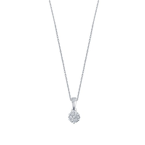 1/6 ct Round White Natural Diamond 10K White Gold 7 Stone Diamond Flower Pendant Necklace for Teens Womens