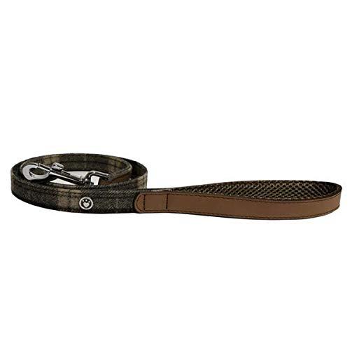 Rosewood 04153 Luxus-Hundeleine aus Leder, 102cm, Schottenkaro-Tweed