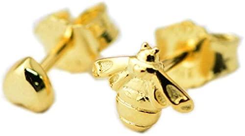 Primavera Amarillo Dorado corazón y abeja Stud Pendientes 925 Plata DIY Fits para Pandora Charm Original Pulseras Joyería de moda