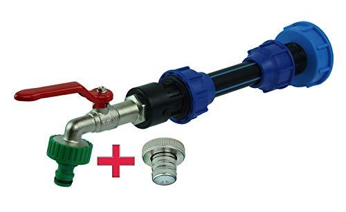 GASMIS IBC Adapter mit Auslaufhahn S60x6 3/4 - Abgang 1 Zoll und Distanzstück Verlängerung Inkl Schlauchanschluss Tülle und Hahnanschlussstück, Wasserhahn für Regentonne IBC-Regenwassertank 1 Stück