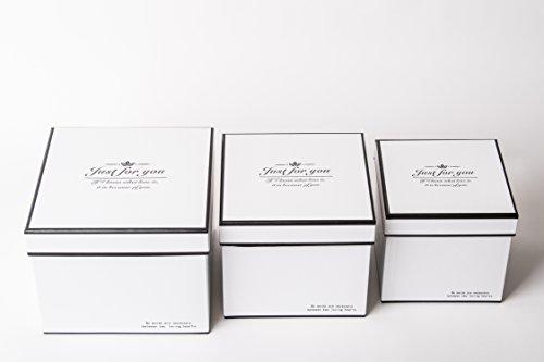 Lot de 3 boîtes cadeau avec texte Just for You Noir et blanc, rectangulaire, boîte de décoration avec couvercle, boîte de conservation carrée, différents designs, Weiß, 20,5 x 20,5 x 16,5 cm