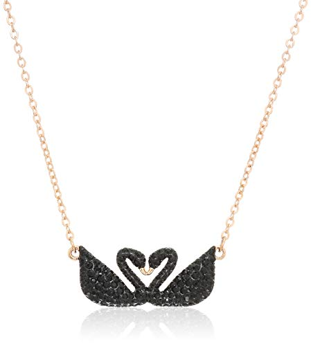 Swarovski Women's Iconic Swan Duo-Swan Pendant Necklace, Stunning finely Cut Stones in Black, from the Swarovski Iconic Swan Collection