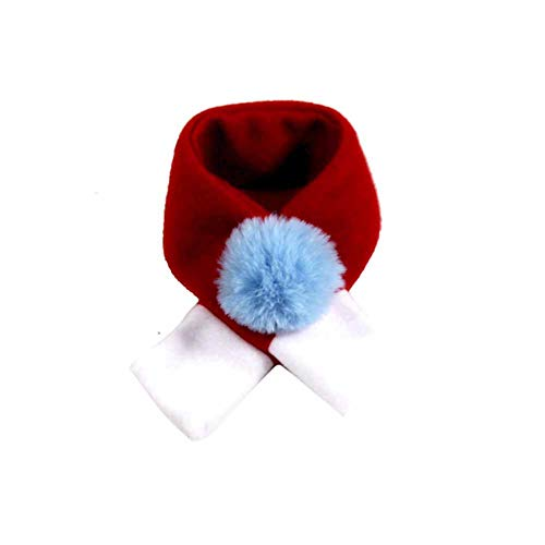 Pet Christmas Costume/Pet Christmas Decoration , Single fleece pet Christmas hat pet scarf/pet cat puppy Cute and stylish warm cosplay,Pet Thanksgiving New Year Party Fancy Dress Up(Red bib2)S