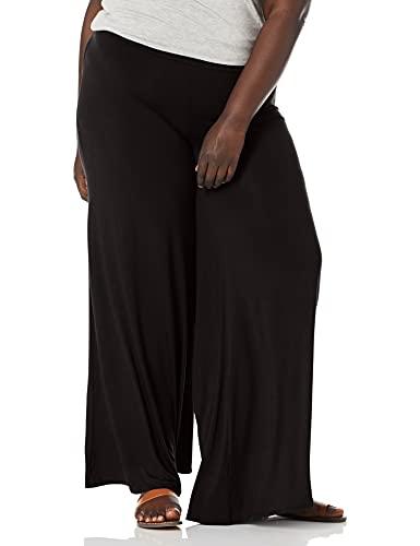 Star Vixen Women's Plus-Size Stretch ITY Knit Wide-Leg Palazzo Pant, Black, 3X