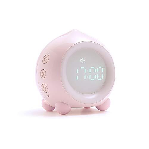 Pfirsich Karikatur Digitalanzeige Wecker Temperatur der Sprachsteuerung Bluetooth Audio Nachtlicht App Einstellungen Bunte Lichter (pink)