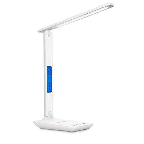 Sutinna USB-LED Schreibtischlampe mit 10w Qi Wireless-Charging-Schreibtischlampe mit LCD-Kalender-Temperatur-Wecker Touch Control, geeignet for Büro, Nacht, Schule, Arbeit und Lesen