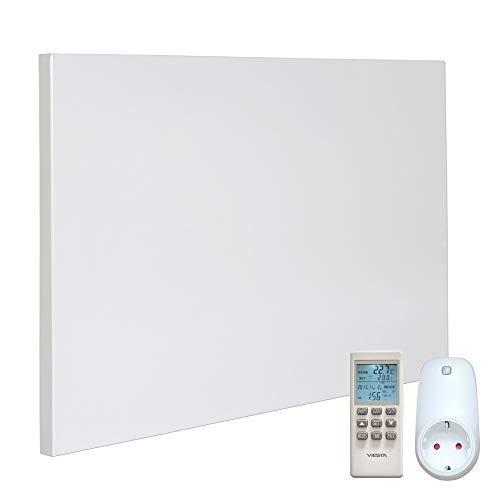 VIESTA H300 Panel Radiador de Infrarrojos Carbon Crystal (última tecnología) Calefacción ultradelgado Blanco de 300W Termostato TH15