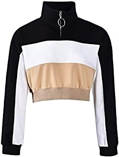 Autumn New Women's Tops Color Matching Long-Sleeves Loose-Fitting Short Navel Exposed Sweater (Color : Khaki, Size : XXL)
